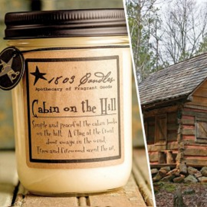 1803 Soy Candle CABIN on the HILL 14 oz. Jar  Woody Spice Leaves Fresh Greens