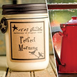 1803 Soy Candle PERFECT MORNING 14 oz. Jar Brewed Coffee  Pumpkin  Caramel